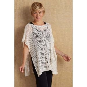 Soft Surroundings Carondelet Crochet Poncho Top OS
